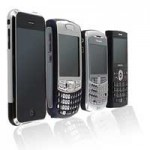 a selection of several popular smart phones arrayed in standard marketing style