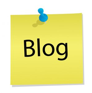 an icon for articles about blogging - it displays a thumbtacked post-it note saying *Blog*
